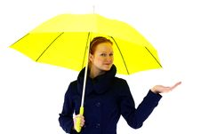 Free Redhead Young Woman Holding An Umbrella Royalty Free Stock Photos - 18325848