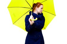 Free Redhead Young Woman Holding An  Umbrella Royalty Free Stock Images - 18325849