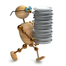 Free 3d Wood Man Is Holding  Dishes Stock Photo - 18325850