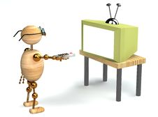 3d Wood Man Is Watching Tv Stock Image