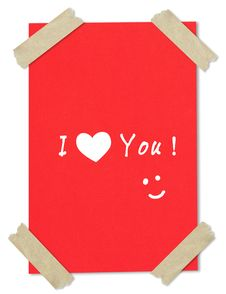 I Love You On Paper Stuck With Tape Royalty Free Stock Photos