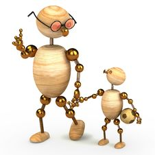 3d Wood Man Holding A Chlid Stock Image