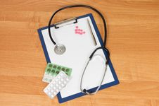 Blank Clipboard With Modern Stethoscope Stock Image
