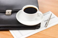 Free Black Portfolio And Coffee On A Table Stock Photography - 18326062