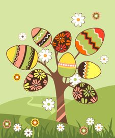 Free Landscape With Easter Tree Stock Images - 18326074