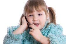 Free The Little Girl Speaks By Phone Stock Photo - 18326090