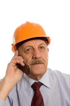 Engineer Speaks By Phone Stock Photo