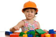 Free The Little Girl In A Helmet Plays Stock Photos - 18326133