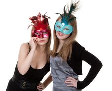 Free Two Girl In The Masquerade Mask Stock Images - 18326474