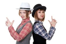 Free Two Girls With Painted Mustaches Royalty Free Stock Images - 18326479