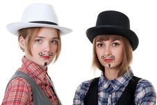 Free Two Girls With Painted Mustaches Stock Photos - 18326693