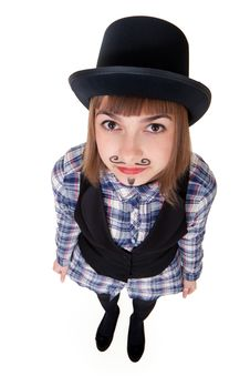 Free Girl With Painted Mustaches Stock Images - 18326734