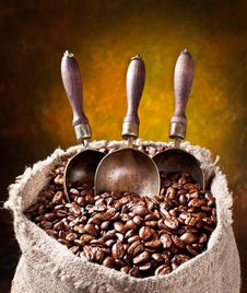 Free Sack Of Coffee Beans And Scoop. Stock Image - 18327131