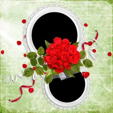 Free Beautiful Frame With Red Roses On The Green Royalty Free Stock Images - 18327689