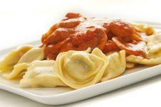 Free Ravioli With Cherry Tomato Sauce Stock Images - 18328314