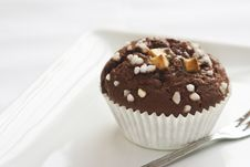 Chocolate Muffin With Decoration Stock Image