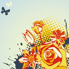 Free Floral Bright Postcard Stock Images - 18328404