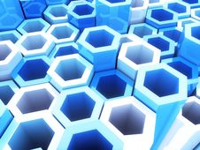 Free Blue Frame Hexagons Stock Image - 18328771