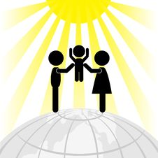 Free Silhouette Of Family On A Round Earth Stock Photography - 18328872