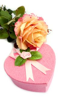 Free Isolated Heart-shaped Gift Box With Rose On It Stock Image - 18329011