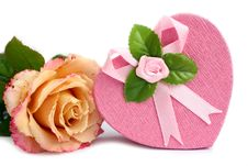 Free Isolated Heart-shaped Gift Box With Rose Near Stock Image - 18329051
