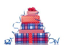 Free A Stack Of Red White Blue Gifts Royalty Free Stock Image - 18329346