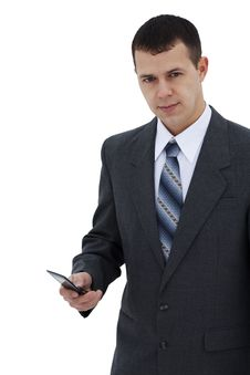 Free Successful Young Businessman Dials The Phone Royalty Free Stock Photography - 18329667