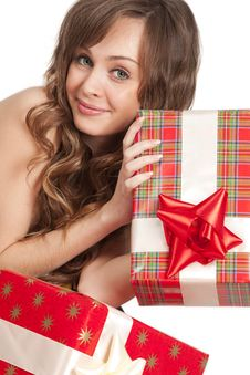 Free Girl With Gift Boxes Stock Photos - 18329853