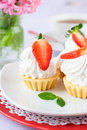 Free Cake With White Protein Cream And Strawberry Royalty Free Stock Photos - 18338338
