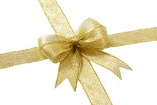 Free Golden Gift Bow Stock Photography - 18332362
