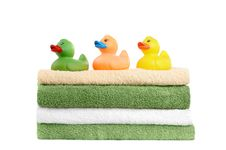 Towels With Rubber Ducks Royalty Free Stock Images