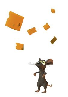 Free Cheeky Mouse Juggling With Wedges Of Cheese Stock Photography - 18333002