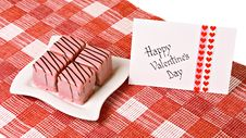 Valentine S Day Card With Rose And Cakes Royalty Free Stock Image