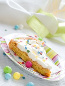 Slice Of Party Cake Royalty Free Stock Images