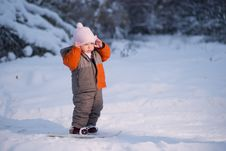 Free Adorable Baby Walk On Ski In Park Royalty Free Stock Image - 18333786