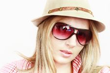 Blonde In Hat And Spectacles Royalty Free Stock Photo