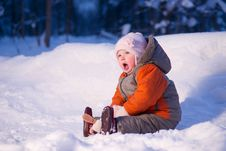 Cute Adorable Baby Sit On Snow In Park Stock Photography