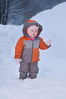 Free Cute Baby Walk In Deep Snow In Winter Evening Stock Images - 18334064