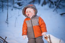 Adorable Baby Stay In Evening Park Stock Photos