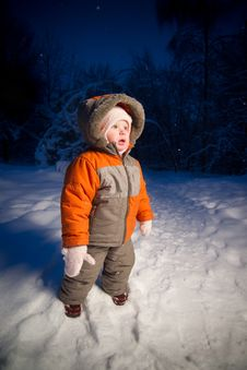 Adorable Baby Walking In Evening Park Royalty Free Stock Image