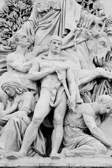 Close Up Of Statues/Carvings On Arch De Triumph Royalty Free Stock Photo