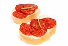 Bread And Salami Stock Images