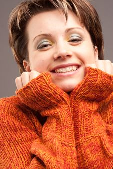 Free Woman In The Sweater Of Orange Color Stock Photos - 18335363