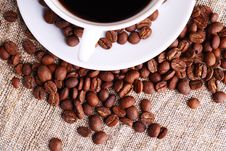 Free Coffee Cup And Grain On A Fabric. Still-life Royalty Free Stock Photo - 18336245