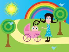 Free Mother With Baby Stroller Stock Image - 18336921