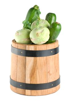Free Vegetables In A Wooden Barrel Stock Photo - 18337990
