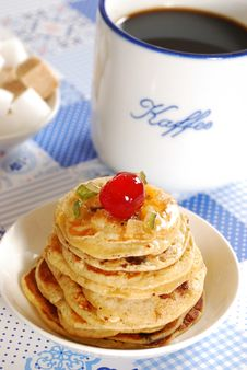 Pancakes With Cup Of Cofee 2 Stock Photo