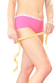 Girl With  Measuring Tape. Stock Photos