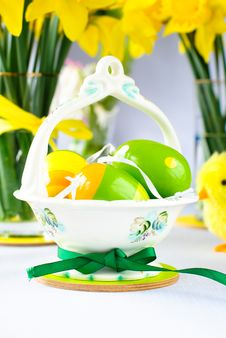 Free Easter Basket With Eggs Royalty Free Stock Photography - 18338447