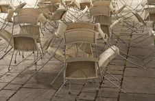 Cafe Chairs Folded Up